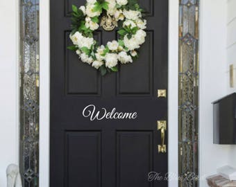 Welcome decal - lettering vinyl - welcome wall decal - door decal - welcome decal for the door