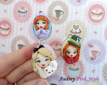 Alice in wonderland, necklaces with cameo,Cat Chesire,mad Hatter,polymer clay doll,