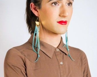 Leather, Brass, Copper, and Turquoise Jellyfish Earrings | Big Geometric Chandelier Earrings | Long Earrings | Dangle Earrings