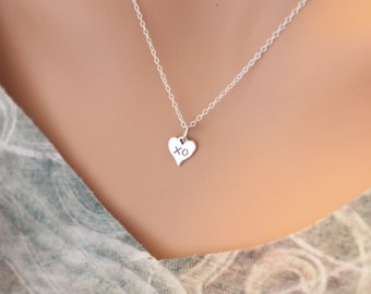 Sterling Silver XO Heart Charm Necklace, XO Hug and Kiss Heart Charm Necklace, Tiny XO Heart Charm Necklace