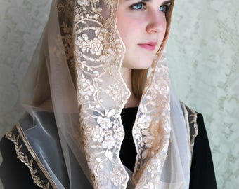 Evintage Veils~ Regina Caeli Rose Gold Champagne  Lace Chapel Veil Mantilla Infinity Latin Mass