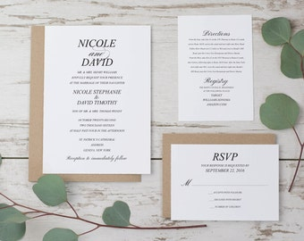 SALE Classic Wedding Invitation Template, Modern Wedding Invitation Suite, Wedding Invitation Download, Printable Wedding Invitation Set