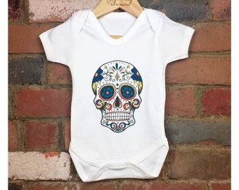 Sugar Skull Baby Bodysuits, Baby Sugar Skull Onesies, Baby Day of The Dead, Unisex Baby Clothes, Skull Baby Clothes, Tattoo Skull Clothing