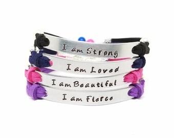 Positive Affirmation Bracelet | Mantra Bracelet | I am Enough | I am Strong | I am Blessed | I am Beautiful | Reminder Bracelet