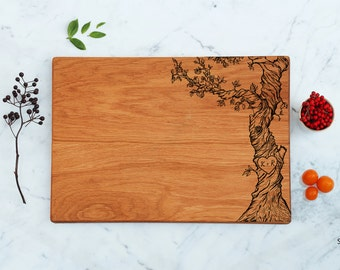Custom Cutting Board Personalized Couple Initials Monogram Engraved Tree Christmas Unique Wedding Engagement Gift Idea New Home Gifts