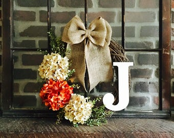 Monogram Wreath-Door Wreath-Summer Wreath-Hydrangea Wreath-Monogrammed Wreath-Wreath for Door-Rustic Wreath-Rustic Decor-Custom Wreath