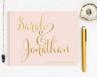 Real Gold Foil Wedding Guest Book landscape horizontal Gold foil Guest Books Custom Guestbook Modern Wedding Script Wedding - blush pink