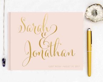 Real Gold Foil Wedding Guest Book landscape horizontal Gold foil Guest Books Custom Guestbook Modern Wedding Script Wedding - blush pink