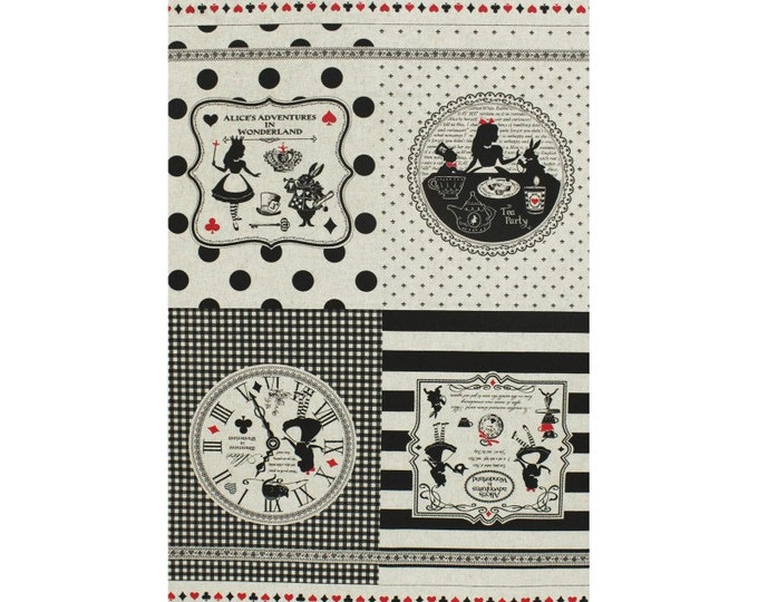 Alice in Wonderland panel 2016 - Alice Adventures L40686-11 Natural, Japanese Cotton Linen Girl's Story by Lecien of Japan, 1 panel