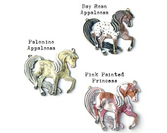 Painted Horse Pendant, Hand Painted Horse Jewelry, Princess Pony, Appaloosa, Spotted Horse, Palomino, Dry Gulch, 1 Pendant, You Choose Color