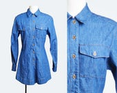 Vintage 90s DENIM Romper / 1990s Grunge Button Up Blue Long Sleeve Collar Playsuit m