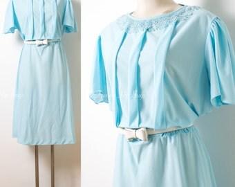 Vintage 60s Dress, 60s Blue Dress, Vintage blue dress, Mad Men Dress, Pleated dress, sheer dress, 60s light blue dress, plus size - 1XL/2XL