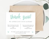 INSTANT Business Thank You Cards, Editable PDF Printable Packaging Inserts for Online Shops, Etsy Sellers | Modern Heart, Adelie | Download
