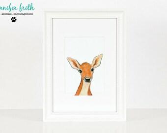 Deer Woodland Print - 8.5 x 11 Print - Watercolor - Illustration - Woodland Nursery - Animal Print - Animal Painting - Deer Painting - Deer