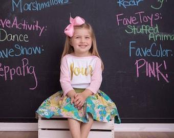 4th Birthday Shirt Girl 4th Birthday Outfit Girl Four Year Old Birthday Raglan Shirt, Pink and White Raglan Birthday Shirt, Fourth Birthday