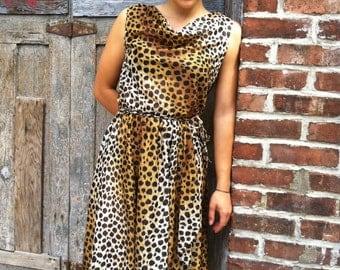 Vintage leopard print wrap dress