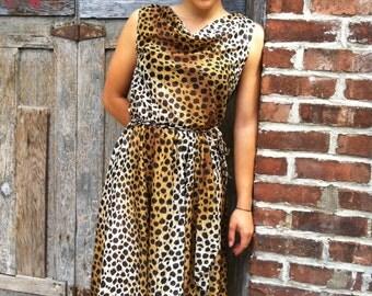 Vintage leopard print flowy wrap dress, Boho chic handmade dress, summer party dress, midi length, draped, see thru fabric, small size