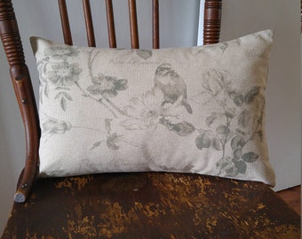 Bird ,Floral, Pillow Cover, French Script Cushion Cover, Taupe and Sage Botanical Throw Pillow, Beige and Moss Lumbar Cushion, Linen look