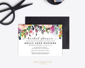 Bridal Shower Invitation INSTANT DOWNLOAD |  Printable Bridal Shower Invite | Floral, Pink, Garden |  Ashley Collection  | Template PDF File