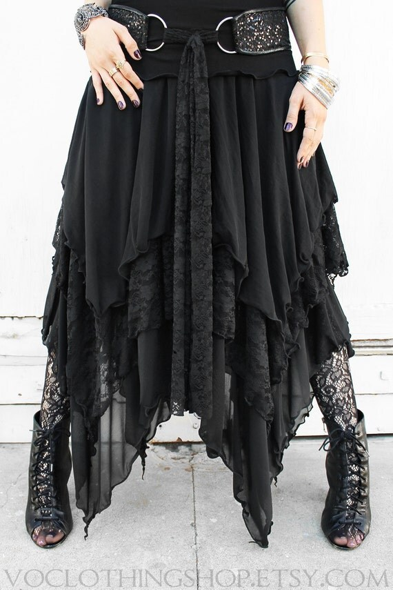 WITCHY LAYERED sheer mesh and lace maxi skirt