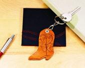 Cowboy Boot Leather Key Fob, Cowboy Boot Keychain, Carved Leather Keychain Cowgirl Boots Charm, Country Boy Keychain Country Girl Gift CBB23
