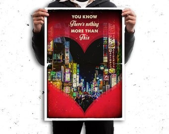 Lost in Translation retro travel poster film - Romantic art heart - Shibuya Tokyo buildings Tokyo - Available in different sizes