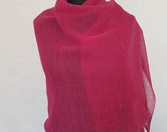 Fuchsia pink linen scarf, pink scarf, linen scarves, pink scarves, summer scarf, summer scarves,  knit scarf, knit scarves, knit linen scarf