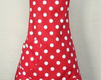 Red and White Polka Dot Valentines Day Apron, Valentines Day Gift, Mothers Day Apron, Retro Style Apron, Christmas Apron