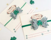 St Patrick's Day Bow - Shamrock Bow - Green glitter bow - baby bow headband - bow headband - bow clip - girls hair accessory