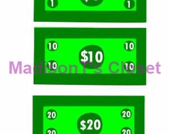Money Cash Dollar Bills One Ten Twenty SVG Cutting Digital File Only