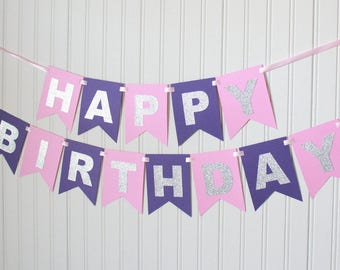 Silver Pink and Purple Happy 1stBirthday Banner/Girl Birthday/Princess Party/Child Birthday/Party Decoration/Personalized Name Custom Banner
