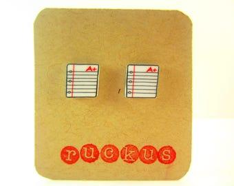 Notebook Paper Earrings, Reading Jewelry, Writer Jewelry, Writer Earrings, Book Earrings, Book Jewelry, School Jewelry, Teacher Earrings,