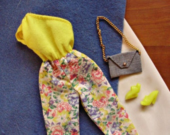 1987 Barbie SUPERSTAR FASHION OUTFIT #4122 -Off the Shoulder Jumpsuit, Denim Handbag & Yellow Platform Sandals -Vintage Best Buy