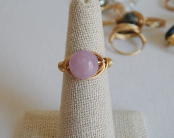 Gold wire wrapped lavender jade ring, boho style, everyday ring, festival jewelry, beach chic jewelry, spring jewelry, bridesmaid gift