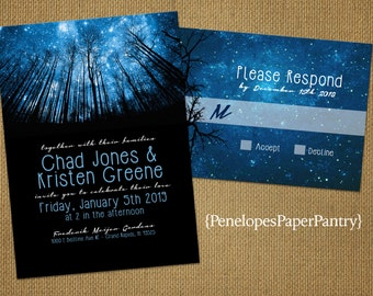 Rustic Enchanted Forest Winter Wedding Invitation,Winter Night Sky,Starry Sky,Romantic,Elegant,Custom,Printed Invitations,or Sets,Opt RSVP