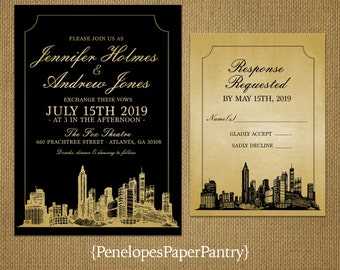 Atlanta Georgia Destination Wedding Invitation,Atlanta Skyline,Black And  Gold,Shimmery,Unique