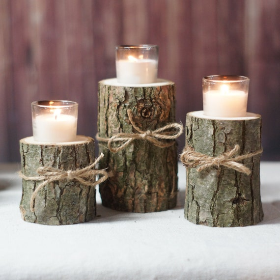 Log Candle Centerpiece : Log candle holder rustic tealight centerpiece
