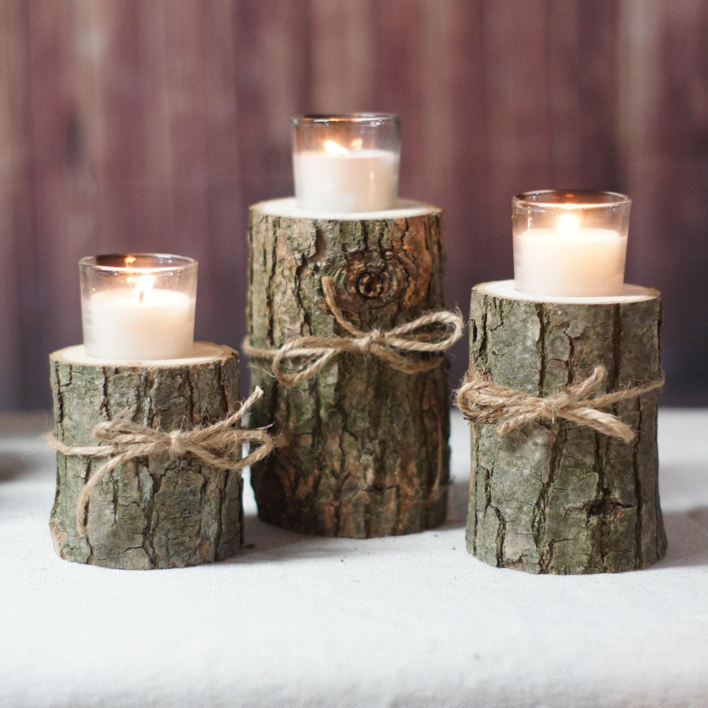 Log candle holder rustic tealight centerpiece