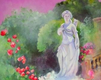 Original oil painting of statue in an Italian garden