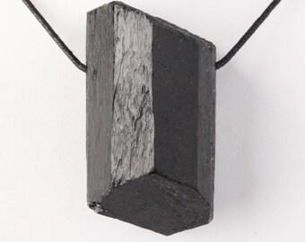 Very Large Nepalese Black Tourmaline Crystal Pendant