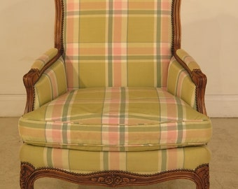 28794E: BAKER French Louis XV Style Bergere Chair w. Down Seat