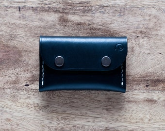 Personalized Leather Snap Wallet in Black Coal,For Him,Card Wallet,Minimal Leather Flap Wallet,Single Pocket Wallet