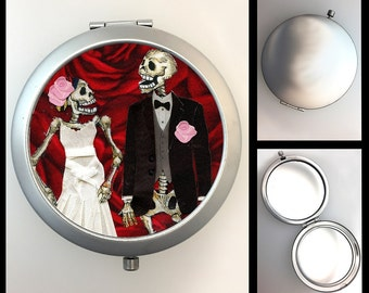 Compact Mirror Skeleton Bride and Groom