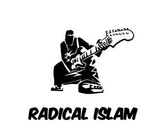 Babies and Toddlers Radical Islam (Guitar) Onesie or Tot's Tee in Size Newborn, 6 Months, 12 Months, T2, T3, & T4