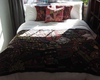 Hand-Sewn Sari Quilt/Tapestry