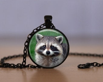 Raccoon Pendant Necklace Nocturnal Animals Wild Life Animal Mens Womens