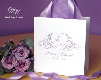 30 Wedding Welcome Bags with Lavender satin ribbon and names - Elegant Wedding gift Bags for guests - Custom Personalized Wedding favors