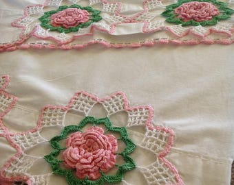 Pair Vintage Crocheted Pillowcases, Pink Floral Pillowcases