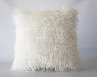 Mongolian faux fur pillow, faux fur pillow cover, faux fur, pillow cover, Mongolian fur, fur pillow cover