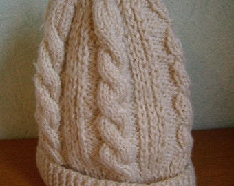 Beanie, slouchy knitted hand, ground cable, accessory winter, man, woman